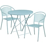 30 Round Sky Blue Indoor-Outdoor Steel Folding Patio Table Set with 2 Round Back Chairs [CO-30RDF-