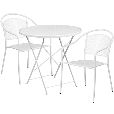 30 Round White Indoor-Outdoor Steel Folding Patio Table Set with 2 Round Back Chairs [CO-30RDF-03CHR2-WH-GG]