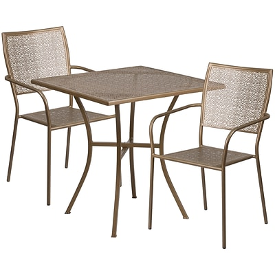 28 Square Gold Indoor-Outdoor Steel Patio Table Set with 2 Square Back Chairs [CO-28SQ-02CHR2-GD-GG]
