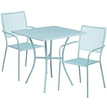 28 Square Sky Blue Indoor-Outdoor Steel Patio Table Set with 2 Square Back Chairs [CO-28SQ-02CHR2-