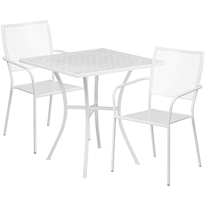28 Square White Indoor-Outdoor Steel Patio Table Set with 2 Square Back Chairs [CO-28SQ-02CHR2-WH-GG]