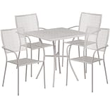 28 Square Light Gray Indoor-Outdoor Steel Patio Table Set with 4 Square Back Chairs [CO-28SQ-02CHR