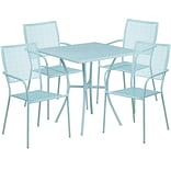28 Square Sky Blue Indoor-Outdoor Steel Patio Table Set with 4 Square Back Chairs [CO-28SQ-02CHR4-