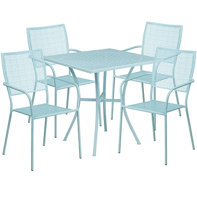 28 Square Sky Blue Indoor-Outdoor Steel Patio Table Set with 4 Square Back Chairs [CO-28SQ-02CHR4-SKY-GG]