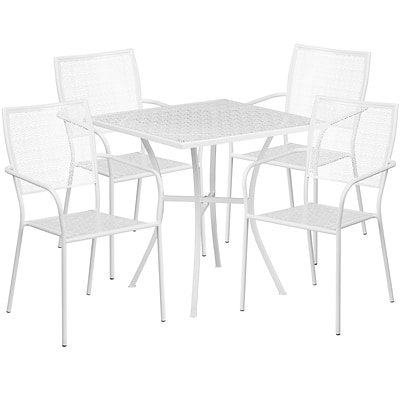 28 Square White Indoor-Outdoor Steel Patio Table Set with 4 Square Back Chairs [CO-28SQ-02CHR4-WH-GG]