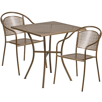 28 Square Gold Indoor-Outdoor Steel Patio Table Set with 2 Round Back Chairs [CO-28SQ-03CHR2-GD-GG]