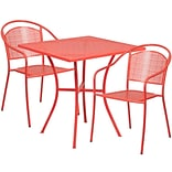28 Square Coral Indoor-Outdoor Steel Patio Table Set with 2 Round Back Chairs [CO-28SQ-03CHR2-RED-