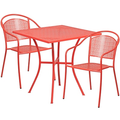 28 Square Coral Indoor-Outdoor Steel Patio Table Set with 2 Round Back Chairs [CO-28SQ-03CHR2-RED-GG]