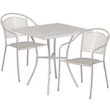 28 Square Light Gray Indoor-Outdoor Steel Patio Table Set with 2 Round Back Chairs [CO-28SQ-03CHR2