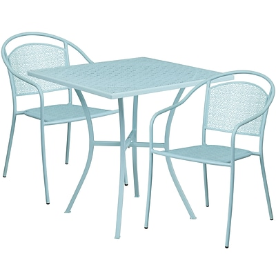 28 Square Sky Blue Indoor-Outdoor Steel Patio Table Set with 2 Round Back Chairs [CO-28SQ-03CHR2-SKY-GG]