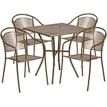 28 Square Gold Indoor-Outdoor Steel Patio Table Set with 4 Round Back Chairs [CO-28SQ-03CHR4-GD-GG