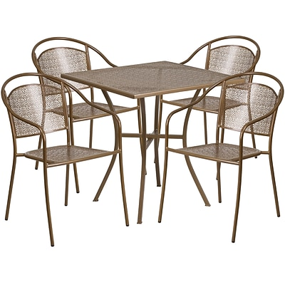 28 Square Gold Indoor-Outdoor Steel Patio Table Set with 4 Round Back Chairs [CO-28SQ-03CHR4-GD-GG]