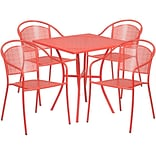 28 Square Coral Indoor-Outdoor Steel Patio Table Set with 4 Round Back Chairs [CO-28SQ-03CHR4-RED-