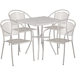28 Square Light Gray Indoor-Outdoor Steel Patio Table Set with 4 Round Back Chairs [CO-28SQ-03CHR4