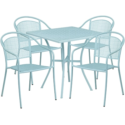 28 Square Sky Blue Indoor-Outdoor Steel Patio Table Set with 4 Round Back Chairs [CO-28SQ-03CHR4-SKY-GG]
