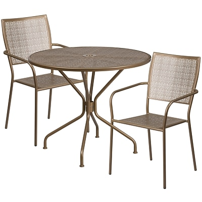 35.25 Round Gold Indoor-Outdoor Steel Patio Table Set with 2 Square Back Chairs [CO-35RD-02CHR2-GD-GG]