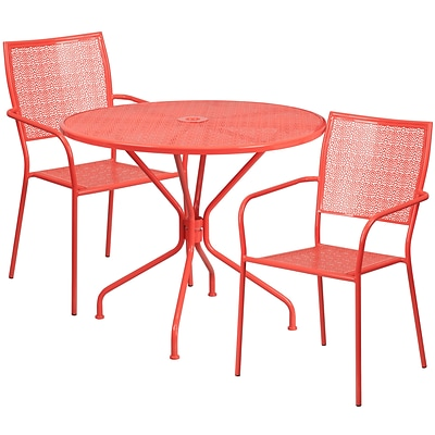 35.25 Round Coral Indoor-Outdoor Steel Patio Table Set with 2 Square Back Chairs [CO-35RD-02CHR2-RED-GG]