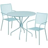 35.25 Round Sky Blue Indoor-Outdoor Steel Patio Table Set with 2 Square Back Chairs [CO-35RD-02CHR