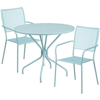 35.25 Round Sky Blue Indoor-Outdoor Steel Patio Table Set with 2 Square Back Chairs [CO-35RD-02CHR2-SKY-GG]