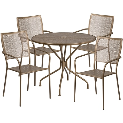 35.25 Round Gold Indoor-Outdoor Steel Patio Table Set with 4 Square Back Chairs [CO-35RD-02CHR4-GD-GG]