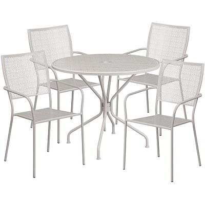 35.25 Round Light Gray Indoor-Outdoor Steel Patio Table Set with 4 Square Back Chairs [CO-35RD-02CHR4-SIL-GG]