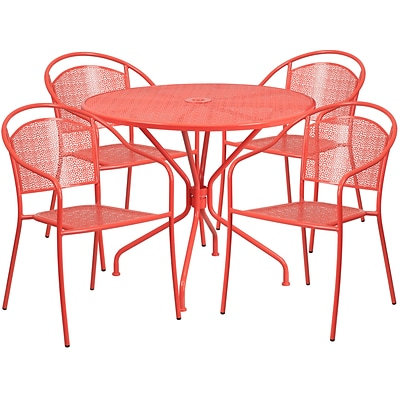 35.25 Round Coral Indoor-Outdoor Steel Patio Table Set with 4 Round Back Chairs [CO-35RD-03CHR4-RED-GG]