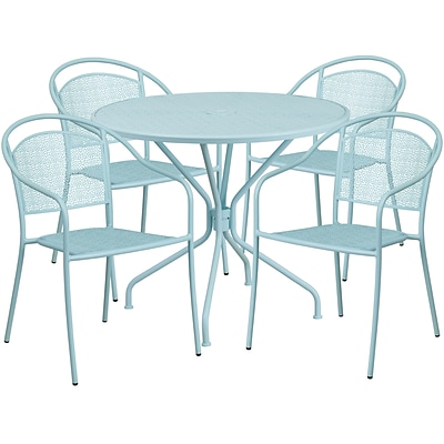35.25 Round Sky Blue Indoor-Outdoor Steel Patio Table Set with 4 Round Back Chairs [CO-35RD-03CHR4-SKY-GG]