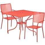 35.5 Square Coral Indoor-Outdoor Steel Patio Table Set with 2 Square Back Chairs [CO-35SQ-02CHR2-R