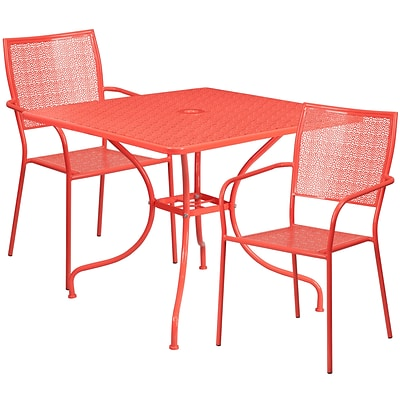 35.5 Square Coral Indoor-Outdoor Steel Patio Table Set with 2 Square Back Chairs [CO-35SQ-02CHR2-RED-GG]