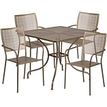 35.5 Square Gold Indoor-Outdoor Steel Patio Table Set with 4 Square Back Chairs [CO-35SQ-02CHR4-GD