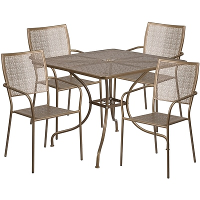 35.5 Square Gold Indoor-Outdoor Steel Patio Table Set with 4 Square Back Chairs [CO-35SQ-02CHR4-GD-GG]