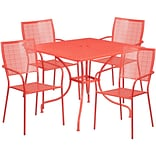 35.5 Square Coral Indoor-Outdoor Steel Patio Table Set with 4 Square Back Chairs [CO-35SQ-02CHR4-R