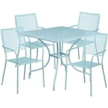 35.5 Square Sky Blue Indoor-Outdoor Steel Patio Table Set with 4 Square Back Chairs [CO-35SQ-02CHR