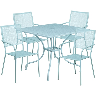 35.5 Square Sky Blue Indoor-Outdoor Steel Patio Table Set with 4 Square Back Chairs [CO-35SQ-02CHR4-SKY-GG]
