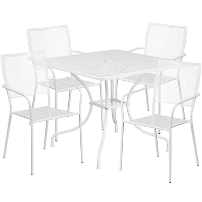 35.5 Square White Indoor-Outdoor Steel Patio Table Set with 4 Square Back Chairs [CO-35SQ-02CHR4-WH-GG]