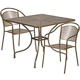 35.5 Square Gold Indoor-Outdoor Steel Patio Table Set with 2 Round Back Chairs [CO-35SQ-03CHR2-GD-