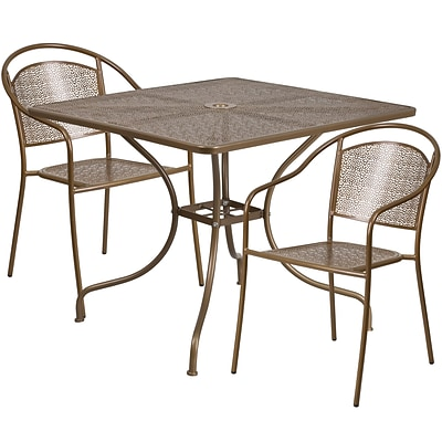 35.5 Square Gold Indoor-Outdoor Steel Patio Table Set with 2 Round Back Chairs [CO-35SQ-03CHR2-GD-GG]