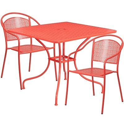 35.5 Square Coral Indoor-Outdoor Steel Patio Table Set with 2 Round Back Chairs [CO-35SQ-03CHR2-RED-GG]