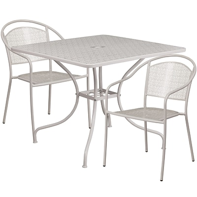 35.5 Square Light Gray Indoor-Outdoor Steel Patio Table Set with 2 Round Back Chairs [CO-35SQ-03CHR2-SIL-GG]