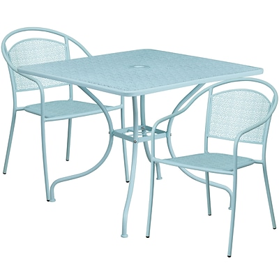 35.5 Square Sky Blue Indoor-Outdoor Steel Patio Table Set with 2 Round Back Chairs [CO-35SQ-03CHR2-SKY-GG]