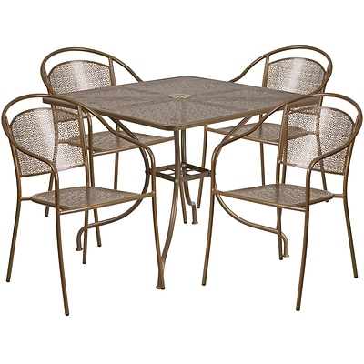 35.5 Square Gold Indoor-Outdoor Steel Patio Table Set with 4 Round Back Chairs [CO-35SQ-03CHR4-GD-GG]