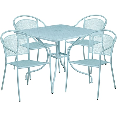 35.5 Square Sky Blue Indoor-Outdoor Steel Patio Table Set with 4 Round Back Chairs [CO-35SQ-03CHR4-SKY-GG]