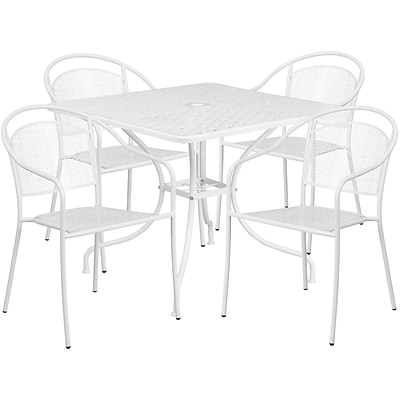 35.5 Square White Indoor-Outdoor Steel Patio Table Set with 4 Round Back Chairs [CO-35SQ-03CHR4-WH-GG]