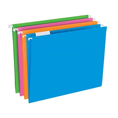 Pendaflex Glow Poly Hanging File Folders, 1/5-Cut Tab, Letter Size, Assorted Colors, 12/Pack (81673)