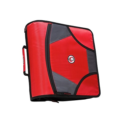 Case-it King Sized Zip Tab 4 3-Ring Zipper Binder, Red (D-186 RED)