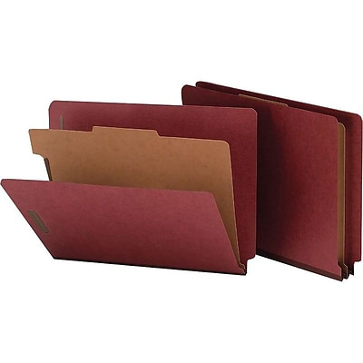 Smead End Tab Pressboard Classification Folders with SafeSHIELD Fasteners, Letter Size, 1 Divider, Red, 10/Box (26855)