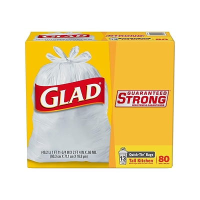 Glad Quick-Tie 13 Gallon Tall Kitchen Trash Bags, 80 Bags/Box (60034)