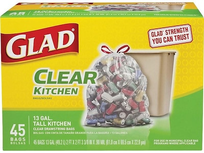 Glad Low Density Trash Bags, 13 Gallon, Recycling, Drawstring, Extra Heavy, 45 Bags/Box (78543)