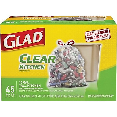Glad Drawstring Extra Heavy Recycling 13 Gallon Trash Bag, Low Density, .90 mil, 24 x 27.36, Clear, 45 Bags/Box (78543)