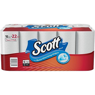 Scott Choose-A-Sheet Kitchen Roll Paper Towel, 1-Ply, 102 Sheets/Roll, 15 Rolls/Pack (36371)